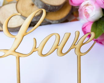 Love Cake Topper Wooden Topper Rustic Wedding Cake Sign banner Wedding Cake Decoration Wedding Love Cake Cupcake toppers