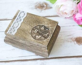 Wedding Ring Box Aqua Mint White Ring Bearer Box Ring Pillow Personalized Ring Holder Shabby Chic Rustic Wedding
