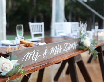 Mr and Mrs ...Table Sign (80x9cm) | Mr & Mrs Sign | Mr and Mrs Wedding Prop | Wedding Reception Decor | Couple Sign | Custom Wooden Sign