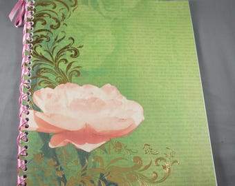 Rose Notebook Bound with Ribbon