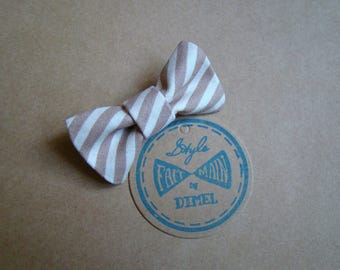 hair bow girl woman striped brown/beige