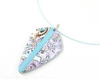 turquoise and mauve polymer clay necklace
