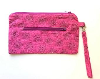 Double Zip Wristlet, pouch, wallet, swivel hook, zip pouch