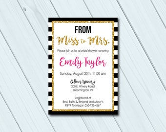 kate spade bridal shower invitation kate spade inspired from miss to mrs - Kate Spade Wedding Invitations