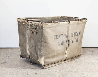 "Vintage 60's Waxed Canvas Laundry Bin – 31""x21""x22"""