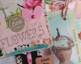 Vintage Pink/Girly Altered Book Tags