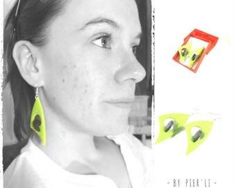 Earrings green 3D - designer jewelry © PIER'LI