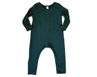FOREST GREEN Romper- Short or Long Sleeve | Short sleeve, long sleeve romper, harem romper, baby onesie, solid romper