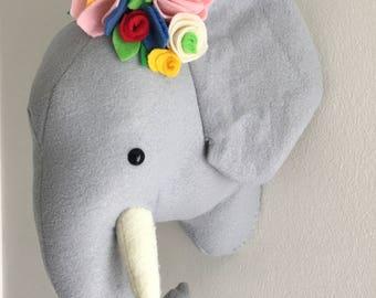 Elephant plush faux taxidermy head, nursery decor, playroom