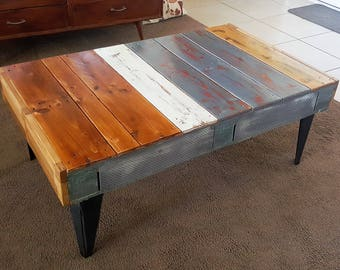Pallet Coffee Table Timber with Metal Legs Industrial Rustic