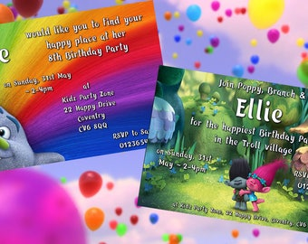 Trolls - Personalised Children's Party Invitations - Pack of 10 - 2 Designs