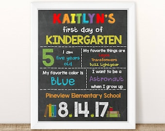 PRINTABLE First Day of School Sign, Printable Back to School Sign, Chalkboard Photo Prop, Personalized First Day of School Sign, Any Grade