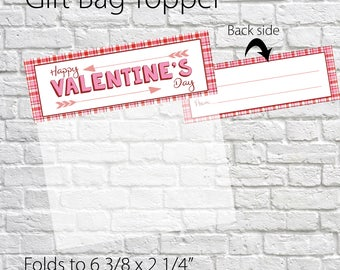 Printable Valentine Favor Tags, Happy Valentine's Day Gift Bag Toppers, favor bag toppers, Valentine Treat Bag Topper, Valentine Printable