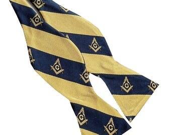 Masonic Navy Blue Gold  Compass Stripe Self-tie Bow Tie