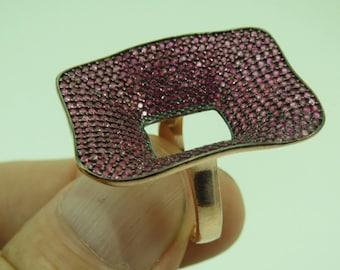 Turkish Handmade Jewelry 925 Sterling Silver Ruby Stone Ladies' Ring Sz 7