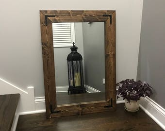 Mirror Wood Frame Rustic Bathroom Wall
