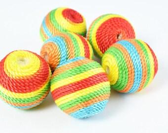 S/M/L Rasta Bon Bon Beads Crispin Round Beads, Wooden beads, Wholesale Bead /Wrapped Plastic Bead /Ball Bead, Big Hole/ Wrapped Beads,