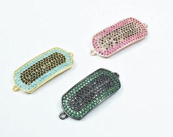 Micro Pave CZ Rhinestone Connector Beads High Quality Horizontal Hole 3 Colors