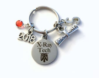 Graduation Gift for X-Ray Tech Keychain, 2018 XRay Radiologic technologist Key chain Keyring her women letter initial Man Men Him Scroll