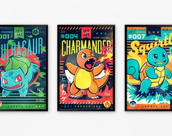 Gen 1 Starter Pokemon Ability Retro Old School Trading Card Poster Set | Bulbasaur, Charmander, Squirtle