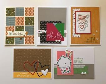 Greeting Cards / Set of 5 Greeting Cards / Hand Stamped Cards / Close To My Heart / CTMH / Handmade Cards / Hello / Thank You / Cupcake