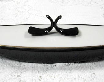 Vintage Art Deco Style Lenox Black White Covered Butter Dish or Relish