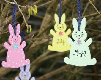 Easter bunny wooden personalised tags, easter tree bunny decorations, named bunny tags