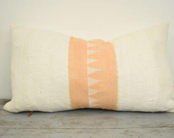 Peach African Mudcloth Pillow Cover, Boho Pillows, Mudcloth Pillows, Boho Chic Pillow Cover, Arrow Print Pillow, Boho Decor, Cream Mudcloth