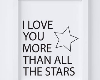 More Than All The Stars Digital Print | Nursery Wall Art | Gender Neutral Wall Art | Stars Nursery