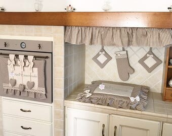 Kitchen Set with oven cover, fire cover, oven glove, curly pot holders