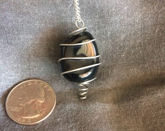 Wire Wrapped Obsidian Necklace