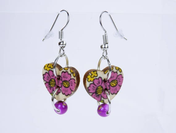Earrings Heart pink flowers and pearl in violet on silvery earrings wooden pendant earrings Oktoberfest Jewelry Dirndl Yellow