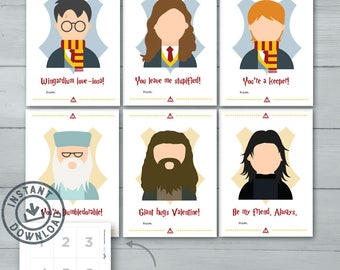 Kids Valentine Cards  |  Harry Potter Valentines  |  Harry Potter, Hermione, Ron, Dumbledore, Hagrid, Snape Valentines  |  Instant Download