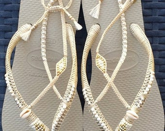 SALE Silver & Gold Wedding Decorated Flip Flop, Sandals Flat Thong Slippers based on Cream Havaianas, Wedding Sandals, Comfortable Wedding S