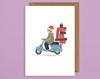 Vespa christmas card.christmas card boyfriend.MOD christmas card.art card.funny xmas card.quadrophenia.gift for him.husband.dad.retro xmas
