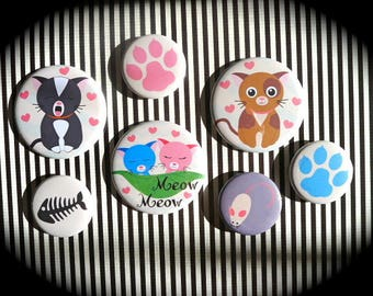 Set of 7 magnets 'The cats'