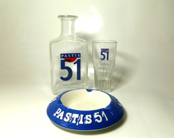 French Vintage Pastis 51 Drinking Set, Vintage Pastis Water Pitcher and Glass, Vintage French Tobacciana