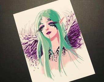 Elf with purple wings