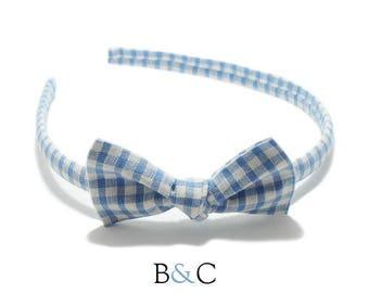 Light blue Gingham Bow headband.