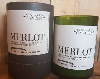 Merlot Candle - Vineyard Candle - Alcohol Themed - Recycled Wine Bottles - Handmade - Large