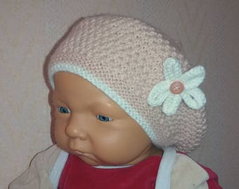 Beret, winter handmade knitted baby Beanie Hat 6/9 months pink blush color