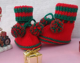 Mixed baby style bootees knitted Christmas Baby booties size 3/6 months