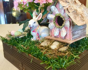 Easter Decor Spring Centerpiece Bunny Birdhouse Tabletop Centerpiece Farmhouse Shabby Chic Handmade Natural Spring Michelle Dornstreich