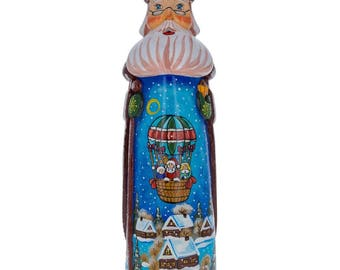 """11"""" Riding on Air Balloon Hand Carved Solid Wood Santa Figurine"""