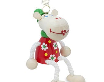 """4"""" Jumping Cow Wooden Doll on a Spring"""