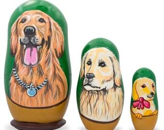 "4.25"" Set of 3 Labrador Retrievers Wooden Nesting Dolls"