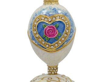 "3.25"" Rose in Crystal Valentine's Heart Faberge Inspired Easter Egg"