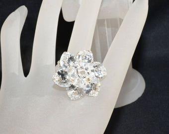 Foiled Crystal Flower Swarovski Crystal Ring