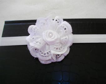 baby baptism in broderie anglaise and satin white headband
