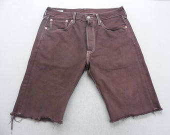 Mens Burgundy Dyed Denim Levi's 501 Cut Off Bermuda Jean Shorts Size 32 W